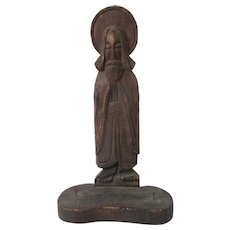 Early SouthWestern Folk Art Carved Wooden Santo Jesus Texana