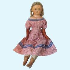 "35"" Antique Wax Over Papier Mache Doll with Cobalt Blue Glass Eyes * Original Mohair Corkscrew Curl Wig"