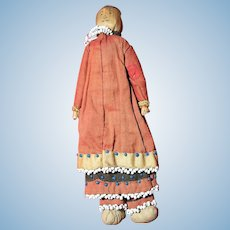 Antique Native American Wood Land Indian Beaded Corn Husk Doll.