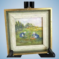 """Miniature Oil Painting on Board """"Gleaners in Field Brittany"""" Original, Signed Dated *Lovely to Display with French Fashion Doll"""