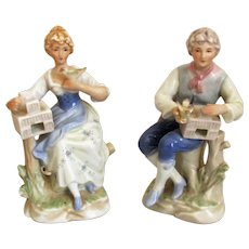 Romantic 19th C Porcelain China Pair of Figurines