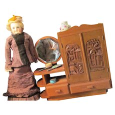 """Vintage Wooden Doll Furniture 13"""" Cabinet for French Fashion Doll"""