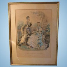 Beautiful Antique Fashion Lady Plate Illustration from Madrid * Perfect for French Fashion Doll Display
