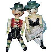 Teeny Pair of Antique German Erzgebirge Peg Wooden Penny Dolls In Painted Ethnic Costume