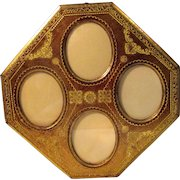 Vintage Italian Florentine Gilt Toleware Picture Frame with 4 Oval Glazed Opening Frames