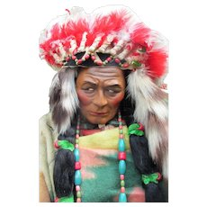 """Skookum Doll Store Display Early All Original Native American Indian * All Original * Magnificent Museum Quality * 39"""" in Headdress."""