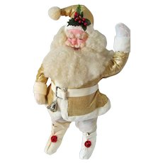 "Huge Rare Harold Gale Display Santa Claus Doll 24"" in Gold Lame' 1963 - Red Tag Sale Item"