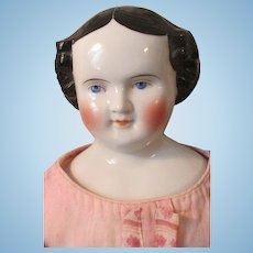 Large Civil War Era Circa 1860s German China Head Doll