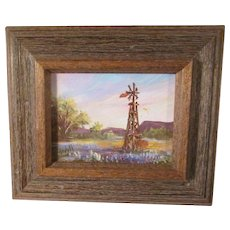 Miniature Bluebonnet Oil Painting Texas Hill Country Landscape * Artist Signed * Windmill and Mesas