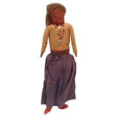 Early Uncommon Navajo Elder Woman Buckskin Face Cloth Wrapped WoodBody