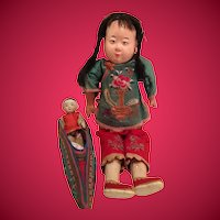 1920s Chinese Girl Doll with All Bisque Chinese Boy Doll and Chinese Bound Foot Slipper