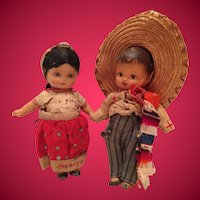 1930s Patsy type Compositon Dolls Dressed in Puebla Mexico Costumes