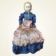 Antique Papier-mâché Doll Black Pupil-less Black Eyes Molded Hair Patriotic Costume