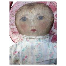 Antique Oil Painted Face Presbyterian Rag Doll Rare Museum Quality Early Americana Folk Art