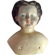 19th C Papier Mache Doll ShoulderHead