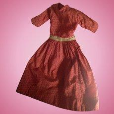 Antique Double Pink Calico Doll Dress Primitive