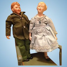 Pair 1963 NIADA Artist Character Dolls Maggie Head