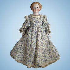 Antique Parian Doll with Brown Hair on Original Body