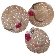 3 Vintage Miniature Raffia Hats Suitable for French Fashion or All Bisque Dolls