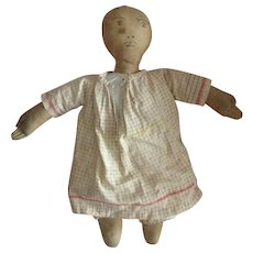 Antique Early Black Americana Double Face Spoon Head Cloth Doll Rag Baby