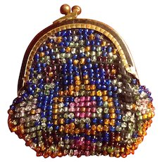 Antique Miniature Glass Micro-beaded Purse for. A French Fashion or Lady Doll