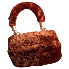 Antique Rare Victorian Miniature Fur Purse for French Fashion Doll or Bebe