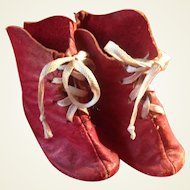 Early Antique Red Leather Doll Bootines for Early Cloth,  Papier Mache, China, Wax, Bisque or French Fashion Dolls