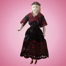 Antique Alt Beck Gottschalk ABG  Molded Parian Doll Long Hair Hat Very As-Is TLC