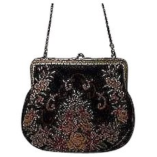 Antique Needlepoint Tapestry Evening Bag for French Fashion Doll