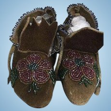 Very Vintage Native American Moccasins Hand Beaded