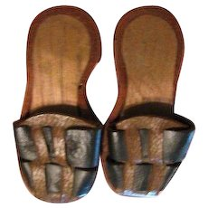 Antique Miniature Wood Soled Leather Clogs for French Fashion Doll