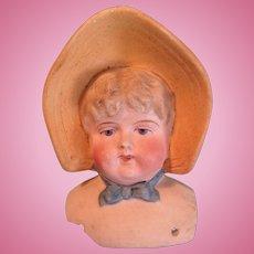 Antique German Bisque Doll Bonnet Shoulder Head