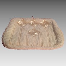 Lovely Vintage White Glass Beaded Evening Bag Purse
