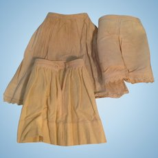 1880s Original Set 3 Piece Petticoats and Bloomers