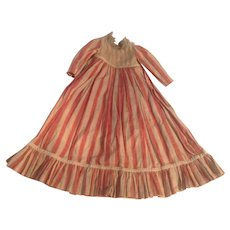 Beautiful 1880s Antique Striped Doll Dress of Lace Trimmed Linen