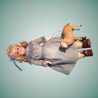 Angelic Antique Alphabet Kestner Shoulder Head Bisque Doll with Square Teeth