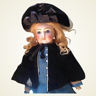 Antique Black Velvet Doll Chapeau and Cape for French Fashion Doll