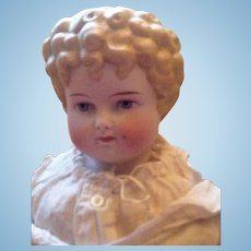 Huge Antique Parian Doll Little Girl with Forehead Curl