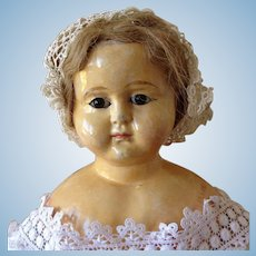 """Large 34"""" Papier Mache Shoulder Head Doll"""