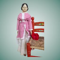 Large Antique Milliner Model Type Papier Mache Doll with Wooden Limbs