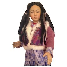 "Huge 30"" Bisque Asian Character Girl Doll"
