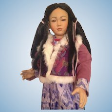 """Huge 30"""" Bisque Asian Character Girl Doll"""