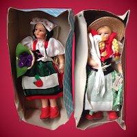 2 Vintage 1930s Eros Italy Cloth and Felt Dolls NRFB