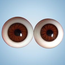 Antique German Brown Eyes Huge  Rayed Hand Blown Hollow Glass Doll Eyes