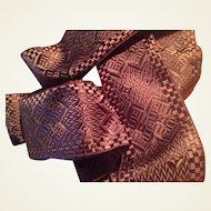 French Chocolate Brown Vintage Reversible Jacquard Ribbon Sash Yardage
