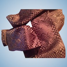 French Chocolate Brown Vintage Reversible Jacquard Ribbon Sash Yardage