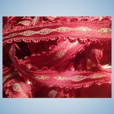 Gorgeous Rare Raspberry French Jacquard Ribbon