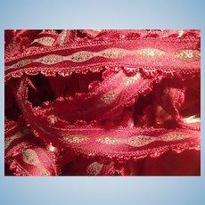 Gorgeous Rare Raspberry French Jacquard Ribbon