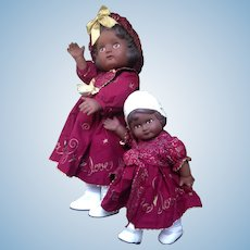 Vintage Daisy Kingdom Black Dolls Rosie and Pansy in Tagged Original Clothing