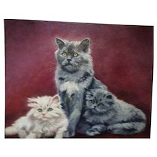 Vintage Oil Painting Known Artist Mother Persian Cat and Kittens